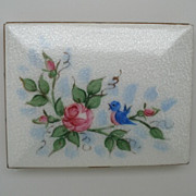 SALE Vintage Guilloche Enamel Cigarette Case with Bird and Flowers Card Case