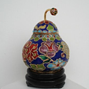SOLD Vintage Japanese Cloisonne Lidded Pear Shape Jar with Stem Container Pot