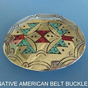 Vintage Native American Sterling Silver Belt Buckle Turquoise Coral Chip Inlay Signed