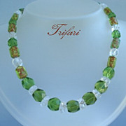 """Vintage Holiday Colors Signed Trifari 24"""" Necklace Red Green Crystals Foiled Art Glass Be"""