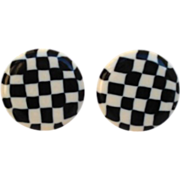 Vintage Lucite 'Op Art' Style Black and White Checkerboard Earrings