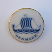 Bing & Grondahl Copenhagen Porcelain Gold Filled Ship Brooch Pin