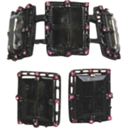 Chunky Vintage Midnight Magic Set by Sarah Coventry Black Diamond Window Panes Pink Rhinestone
