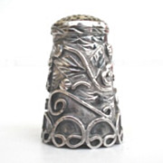 SOLD Exquisite Vintage Sterling Floral Thimble Multiple Ornate Overlays Signed Mexico