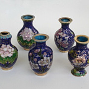 Vintage Lot 5 Japanese Cloisonné Miniature Vases Doll House Oriental