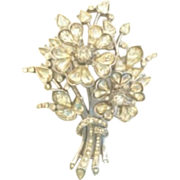 LARGE Vintage Trifari Brooch LUCKY Four Leaf Clover Bouquet Rhinestones
