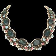 Elaborate FLORENZA Vintage Necklace Art Glass Stones & Rhinestones