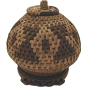 SOLD Vintage Northwest Native American Indian Basket Unusual Shape Lidded Handle Geometric Pat