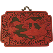 SOLD Vintage Chinese Cinnabar Plaque Geisha Pond Cherry Trees Hut Art Nouveau Style Border