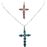Early Vintage Native American Reversible Cross Pendant Turquoise Coral Complimentary Sterling