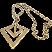 Vintage Modernist Monet Pendant Necklace Gold Tone Diamond Shapes 3-D