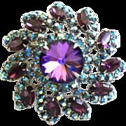 Vintage Blue & Purple Rivoli PINWHEEL Brooch Pin AB Rhinestones
