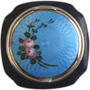 Vintage 1920's Blue & Black Guilloche Enamel Powder & Rouge Compact