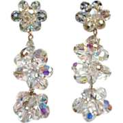 Long Vintage 1950's AB Crystal Chandelier Dangling Earrings Hollywood Glamour