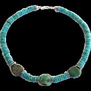 Vintage Artisan Turquoise Meets Hollywood Glam Necklace Blue Topaz Rhinestone Studded Rondelle