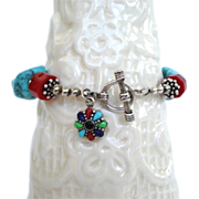 """SOLD Artisan Bracelet Sleeping Beauty Turquoise Coral Lapis Sterling Silver Charm 8"""""""