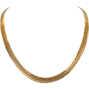 Vintage Napier Sleek Buttery Gold Plated Choker Necklace Signed