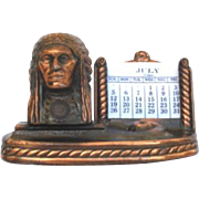 Vintage Souvenir Brass Perpetual Native American Indian Calendar Great Falls Montana Rainbow D