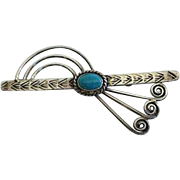 Unusual Vintage Native American Turquoise Sterling Brooch Pin Navajo Stylized Rainbow