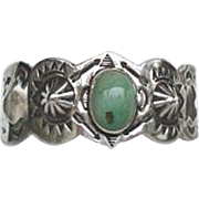 RARE Vintage 1920's Native American Green Turquoise Bracelet Sterling Silver Elaborate Stampin