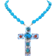 Stunning Sleeping Beauty Blue Turquoise & Sterling Silver Cross Pendant Necklace