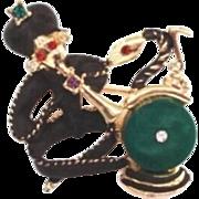 Whimsical Vintage Snake Charmer Figural Brooch Sultan Pants Musical Notes Flute Jewels ...