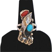 Vintage Native American Sterling Silver Ring Coral Turquoise Leaf