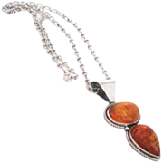 Magnificent Large Vintage Double Baltic Amber Sterling Silver Pendant Necklace Signed