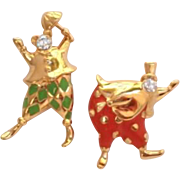 Vintage Trifari Set of Clowns Rhinestones Vibrant Enamels Pins
