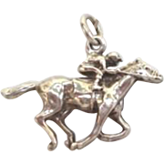 Lucky Vintage Sterling Horse & Jockey Racing Charm