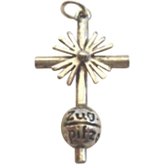 Vintage German Zugspitze Cross Souvenir Charm 835 Silver Marked