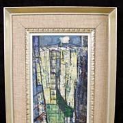 1951 Abstract Buildings/Urban Landscape by listed American Artist Ferdinand E. Warren (1899-19