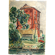 Fine Early 20th Century WPA / Modernist Style Watercolor of an Urban Scene by an Anonymous Art