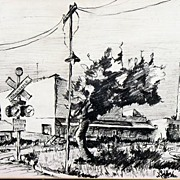 Early 20th Century WPA Era Drawing Rural Railroad Stop by Listed Illinois Artist Laura Thompso