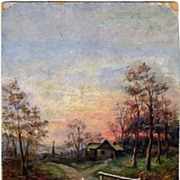 Late 19th Century Landscape Oil Painting on Board