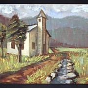 Colorful Late 20th Century Landscape Oil Painting Signed Hickey