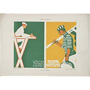 SOLD Art Deco Graphic Print c. 1905, Sports - Tennis and Football