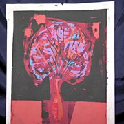 "Eames Era Serigraph, ""Still Life"" by Listed NY/MI Artist Owen Brainard"
