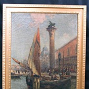 Fine Venetian Scene Oil on Canvas by Listed MA Artist Nicholas Briganti