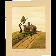 "Original Drawing, ""Ridge Farm"", by Listed OH Artist Dean Purdy Close"