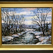 """Stunning Oil on Board by PA Artist Clarence I Dreisbach, """"Willows in Winter"""""""