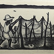 Fisherman of Acapulco by Listed Mexican Printmaker Jesus Escobedo (1918-1978)