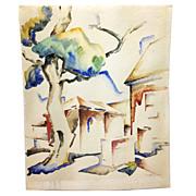 "1933 Watercolor by WPA Artist Katherine ""Kady"" Faulkner"