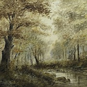 Amazing Wooded Landscape Painting by Listed Artist Geoff H. Flavelle (1863-)