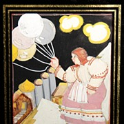 Art Deco Style Gouache of Woman Holding Balloons Signed Ruth A Green