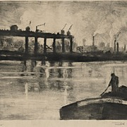 "Original Lithograph/Monoprint  ""Across the River"" 1929 by NY/PA Artist Seth Hoffman"