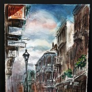 Vintage New Orleans Painting by Noted French Quarter Artist Tom Lane (1916-1991)