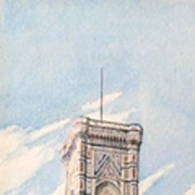 Fine 19th Late 19th Century Italian Watercolor, Campanile di Firenze (Florence), by Listed Art