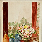 Colorful Spring Flowers/Fruits Watercolor Signed C. McFarland