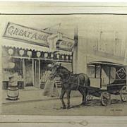 Original Pencil Drawing, Signed Ed. Merz, American Tea Company